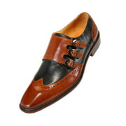 Asher Green Mens Genuine Two Tone Leather Dress Shoes, Triple Monk Strap Wingtip Oxfords, Style AG118 Available in Burgundy, Tan, and Black/White