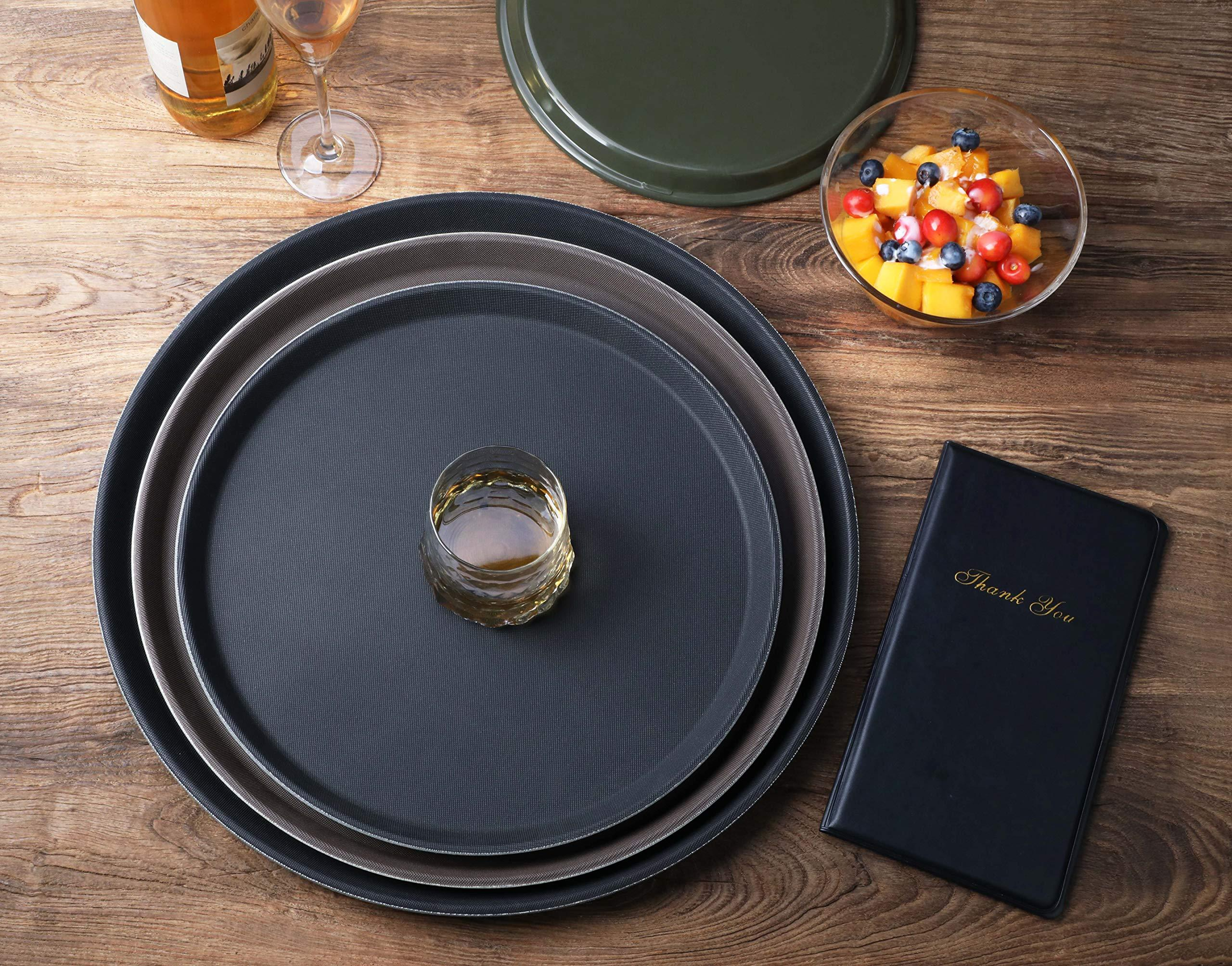 11 inch Round Plastic Rubber Lined Brown New Star Foodservice 24944 Non-Slip Tray