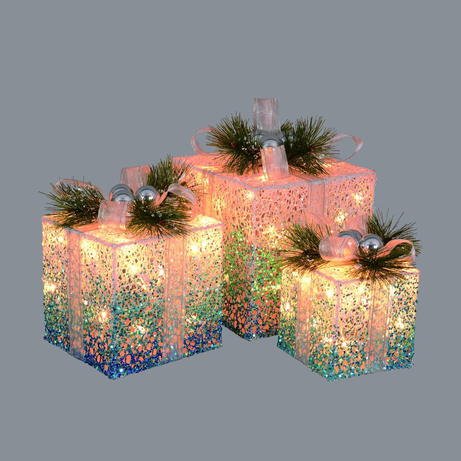 Set of 3 Blue and White Decorative Lighted Christmas Gift Boxes Yard Art 12""