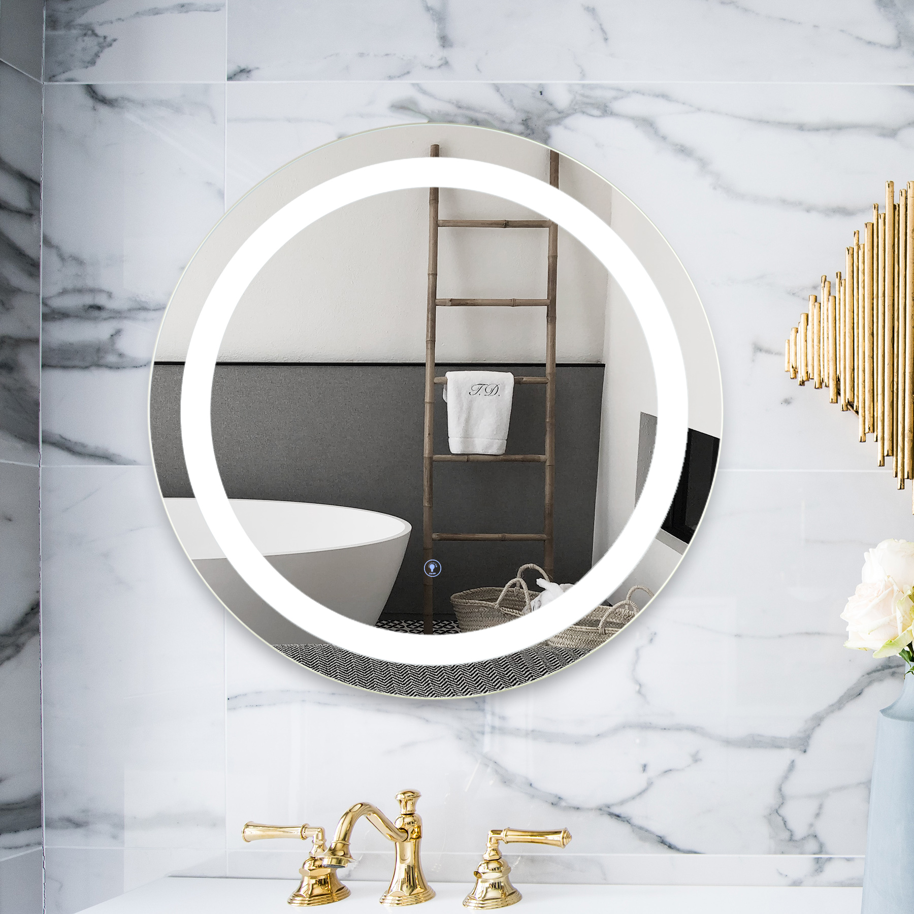 2 Silver Round Wall Mounted Led Mirror For Bedroom Desk Bathroom Vanity And More Glass Aluminum Alloy Metal Walmart Com Walmart Com