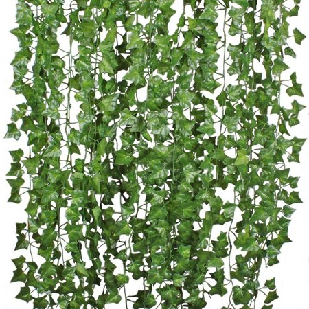 Ivy Leaf (12pcs 6.6ft/7.5ft Artificial Plants, Fake Hanging Plants, Ivy Leaves Garland Artificial Vine, for Wedding Party Garden Home Wall)