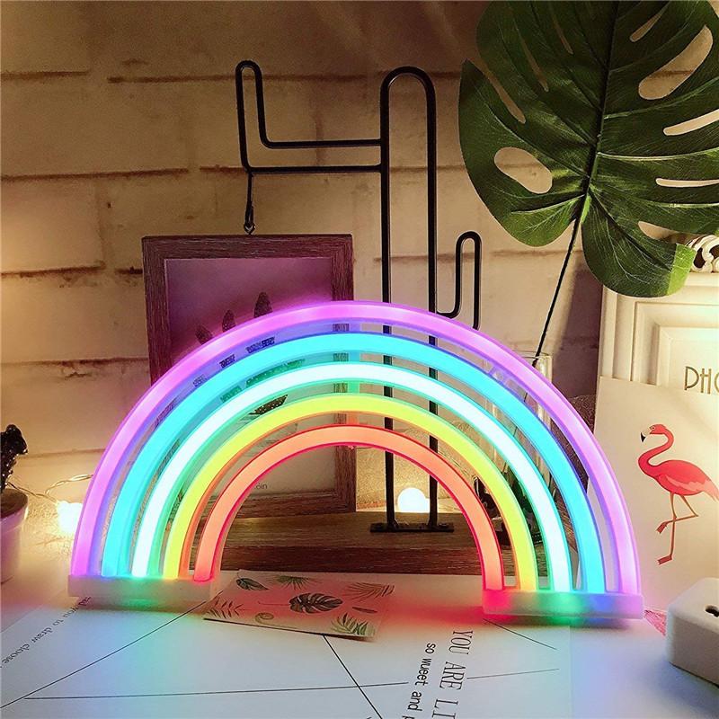 Lighting Colorful Rainbow Neon Sign Led Night Light Wall Lamp For Kids Children Room 4 5v Home Furniture Diy Alpan Com Mk