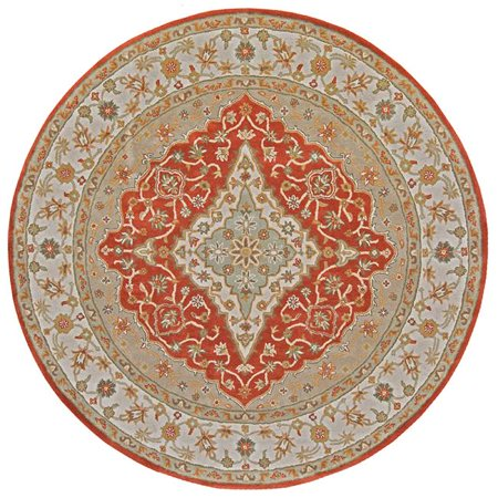 Tufted Mohtesham Covered Field Rust & Ivory Round Area Rug, 12 x 12 ft.
