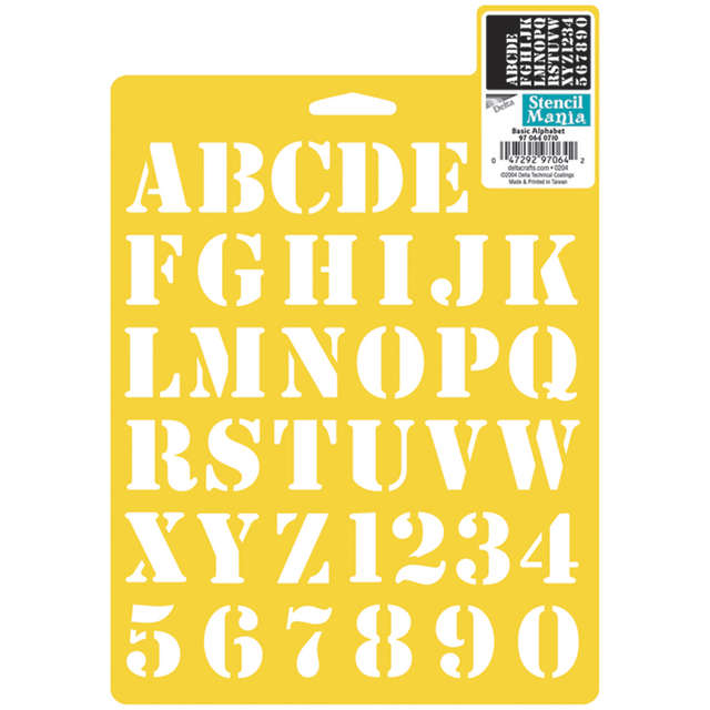 Plaid:Delta Stencil Mania Stencil, 7 by 10-Inch, Basic Alphabet Multi-Colored