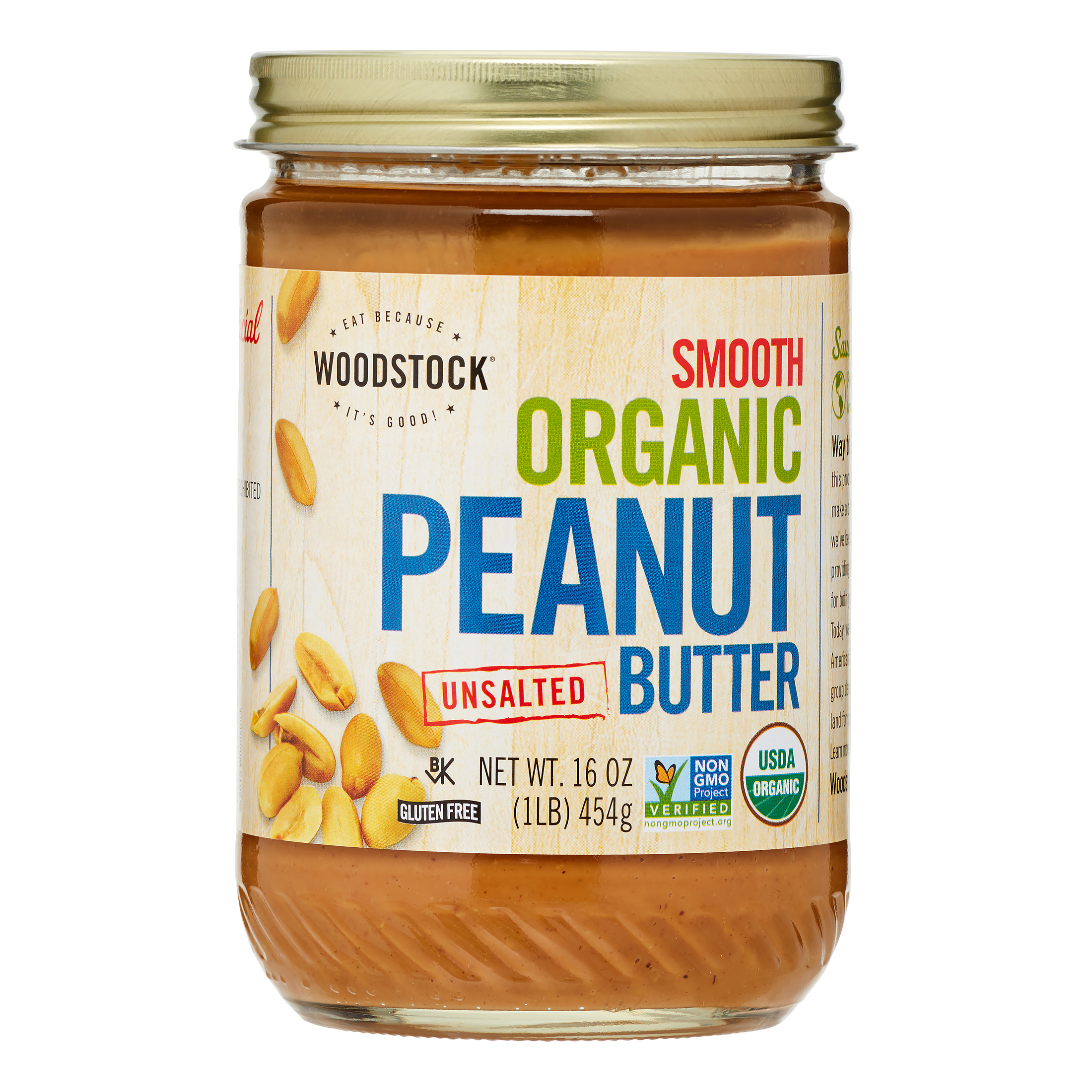 Woodstock Smooth Organic Peanut Butter, Unsalted, 16 Oz, 1 Count