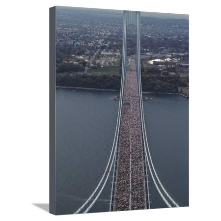 Running on the Verranzano Bridge Competing in the 1994 NYC Marathon Stretched Canvas Print Wall