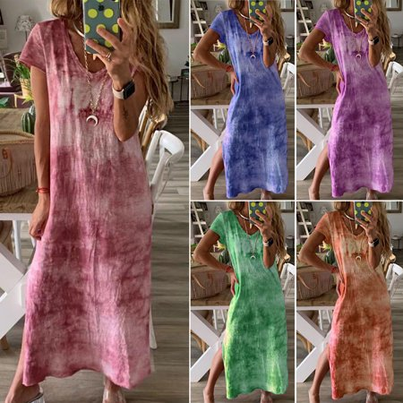 Multitrust Plus Size Women Summer Beach Long Maxi Dress Tie-Dye Full Length Shirt Dress