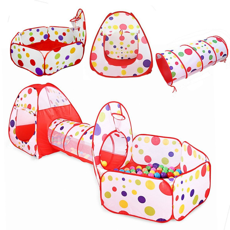 3-Piece Kids Indoor Play Tent With Tunnel and Ball Pit with Basketball Hoop Playhouse for Indoor and Outdoor Use with Red Carrying Case