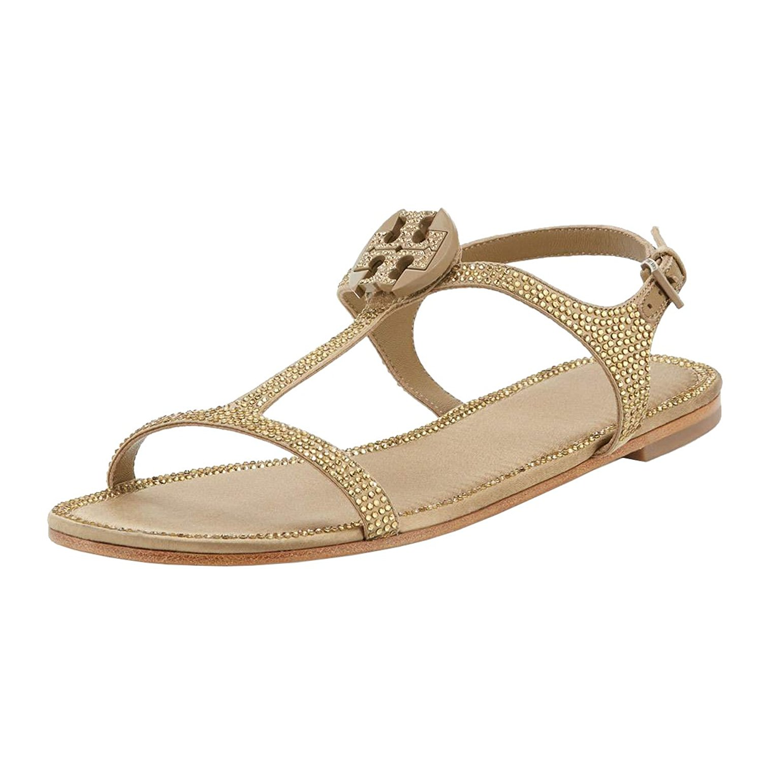 Tory Burch Dephine Crystal Logo Flat Sandals (6.5, River ...