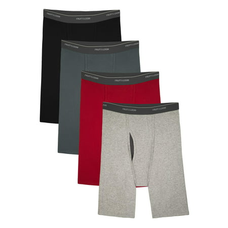 Fruit of the Loom Big Men's CoolZone Fly Dual Defense Assorted Long Leg Boxer Briefs, Extended Sizes, 4 Pack
