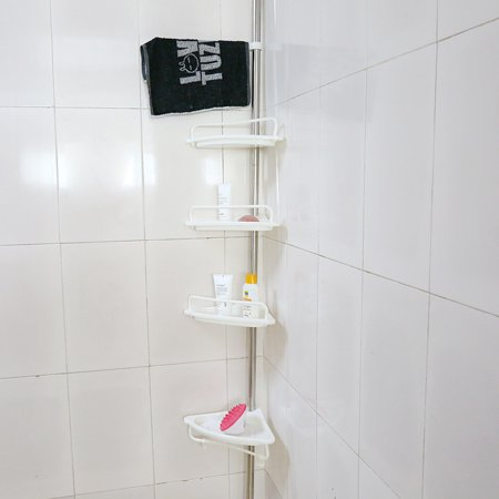 Walfront 4-Tier Adjustable Corner Shower Caddy Shelf Bathroom ...