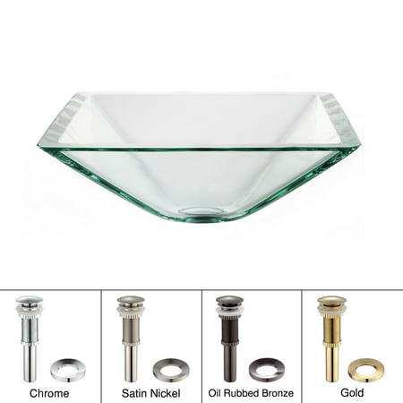 KRAUS Square Glass Vessel Sink in Clear with Pop-Up Drain and Mounting Ring in Satin Nickel](Squre Up)