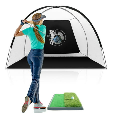 Gymax Portable 10' Golf Practice Set Golf Hitting Net Cage w Target Bag Ball Grass Mat