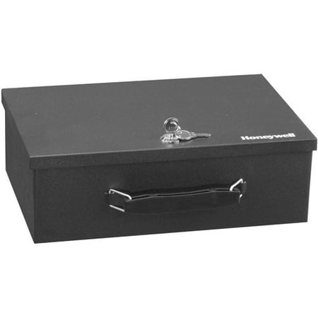 Honeywell 0.17 cu. ft. Low Profile Steel Fire-Resistant Security Box with Key Lock, 6104 ()