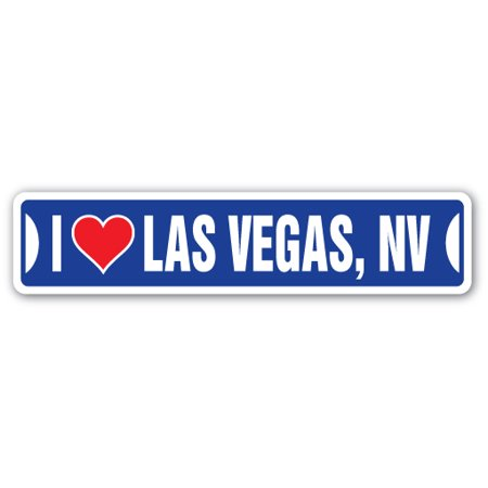 I LOVE LAS VEGAS, NEVADA Street Sign nv city state us wall road décor gift