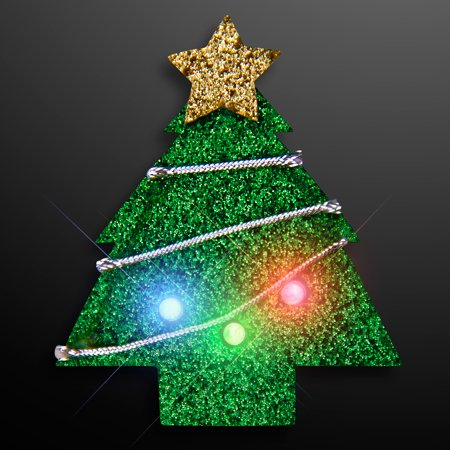 flashingblinkylights glitter christmas tree flashing led light up body light pins set of 25