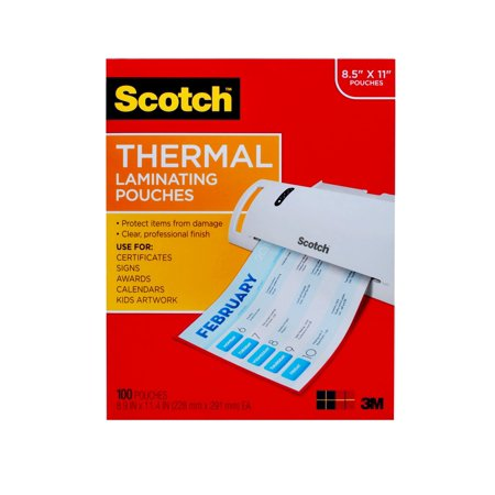 Scotch Thermal Laminating Pouches, 100 Count, 8.5in x 11in Letter Size Sheets, 3 mil Thick Pressure Sensitive Lamination Pouch