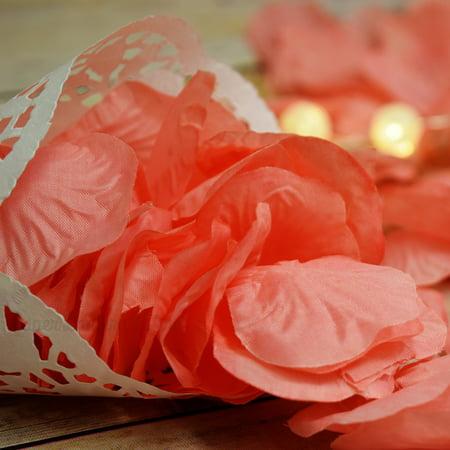 Bulls Silk - Quasimoon Roseate / Pink Coral Silk Rose Petals Confetti for Weddings in Bulk by PaperLanternStore