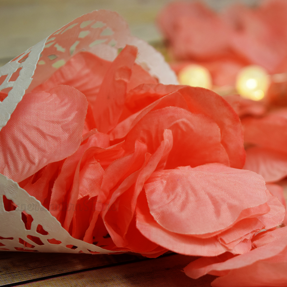 Quasimoon Roseate / Pink Coral Silk Rose Petals Confetti for Weddings in Bulk by PaperLanternStore