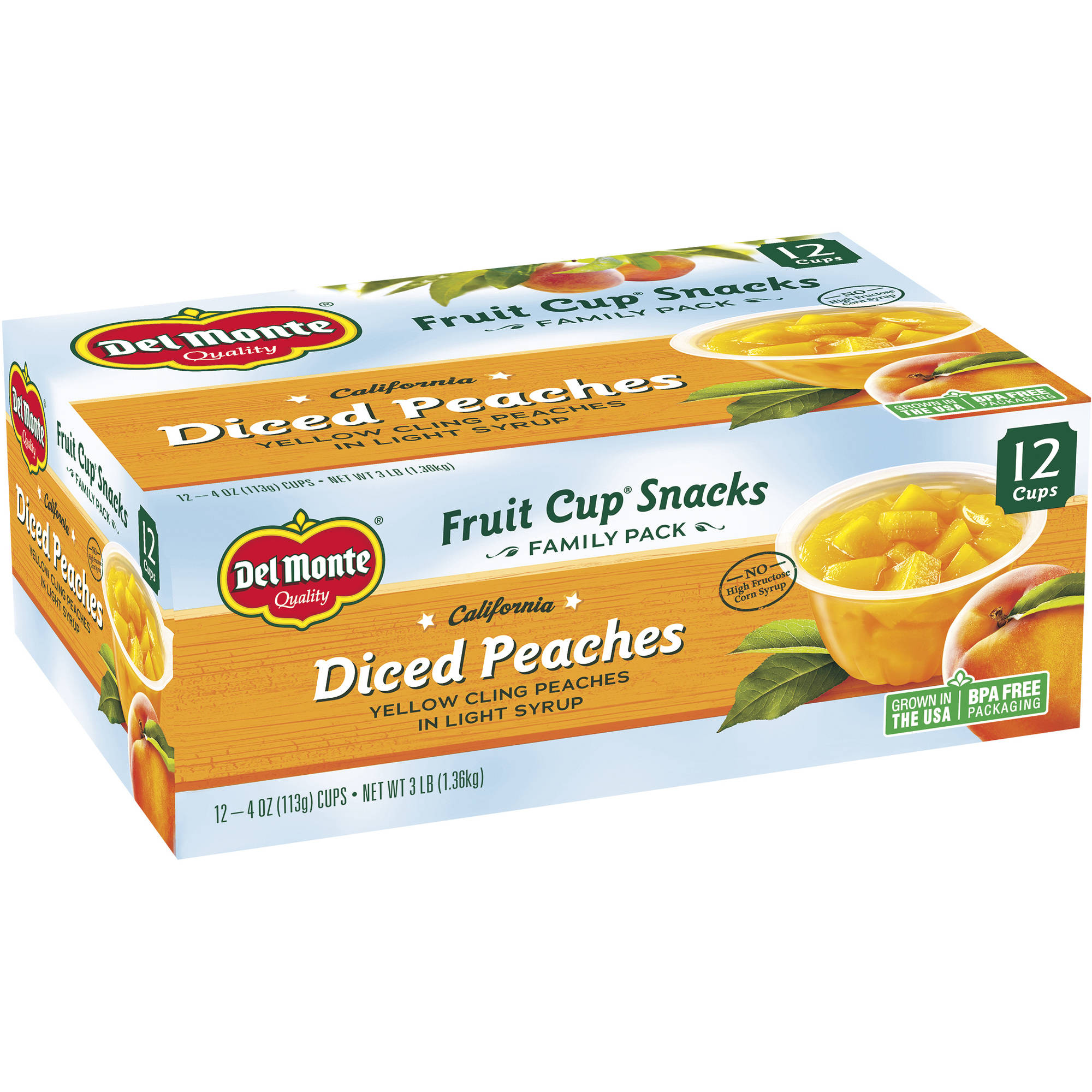 Del Monte Diced Peaches Fruit Cup Snacks, 4 oz, 12 ct