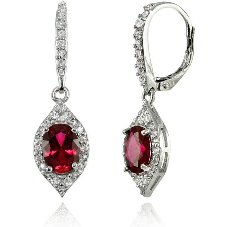 Created Ruby and White Topaz Sterling Silver Oval Dangle Leverback Earrings Created Ruby Leverback Earrings