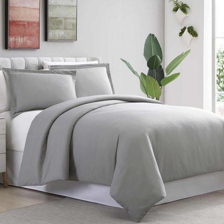 Sanctuary 3 Piece Ultra-Plush Solid Duvet Set - Gray Full/Queen Grey Duvet Set