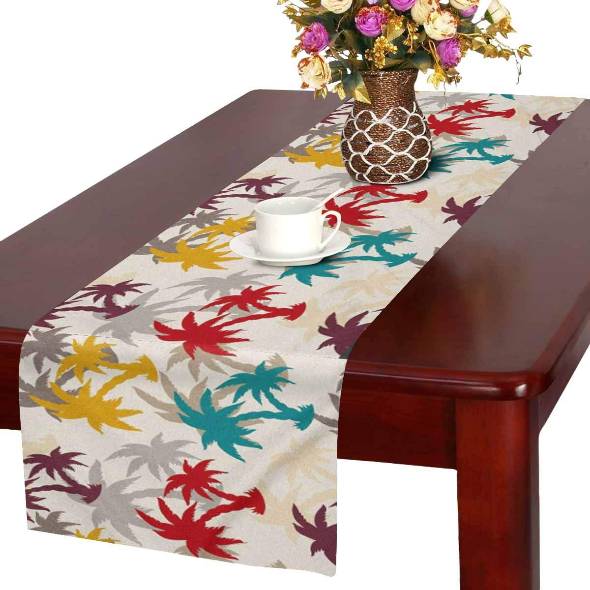 MKHERT Vintage Silhouette Of Tropical Palm Leaves Table
