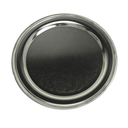Embossed Round Chrome Serving Plate, 9-3/4-Inch
