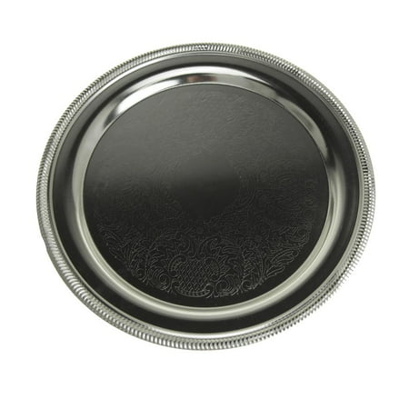 1 Round Serving Plate (Embossed Round Chrome Serving Plate, 9-3/4-Inch )