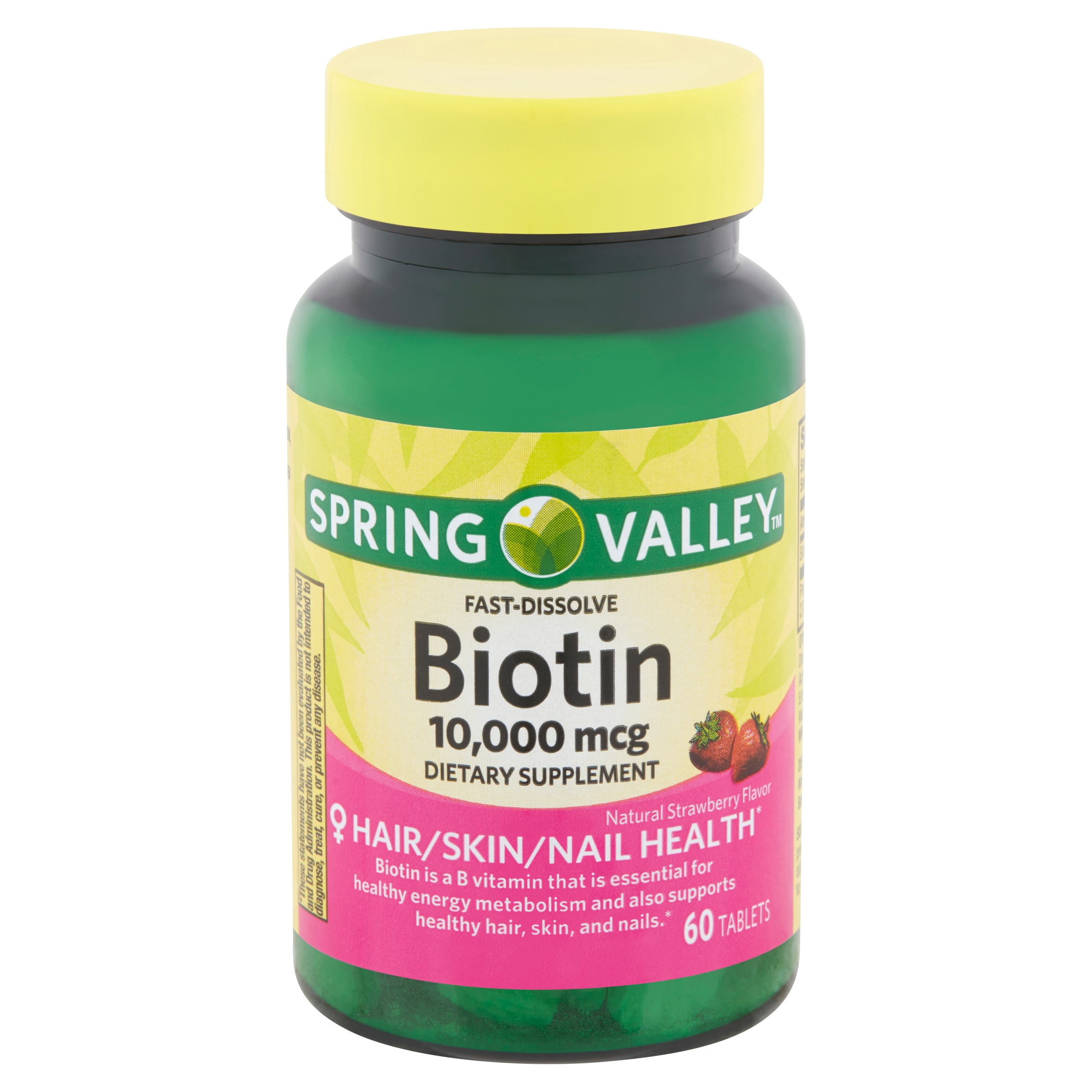 Spring Valley Fast-Dissolve Biotin Tablets, 10,000 mcg, 60 count ...