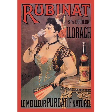 Turn of the century medical advertising poster for Rubinat  Noted as being the best natural laxative Rubinat is a Spanish medicinal water put out by a Dr Llorach Other sources claim that it has been