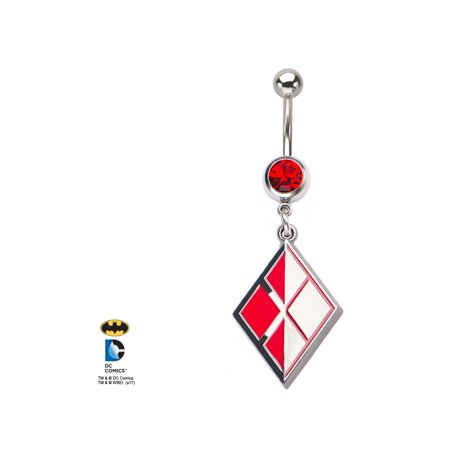 Logo Acrylic Navel Ring (DC Comics Harley Quinn Logo with Red Gem and Stainless Steel Dangle Navel)