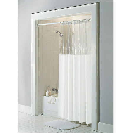 White Vinyl Windowed Shower Curtain Liner- Clear Top Extra Long 72 ...