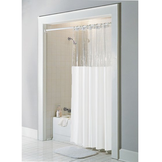 White Vinyl Windowed Shower Curtain Liner Clear Top Extra Long 72 Wide X 84