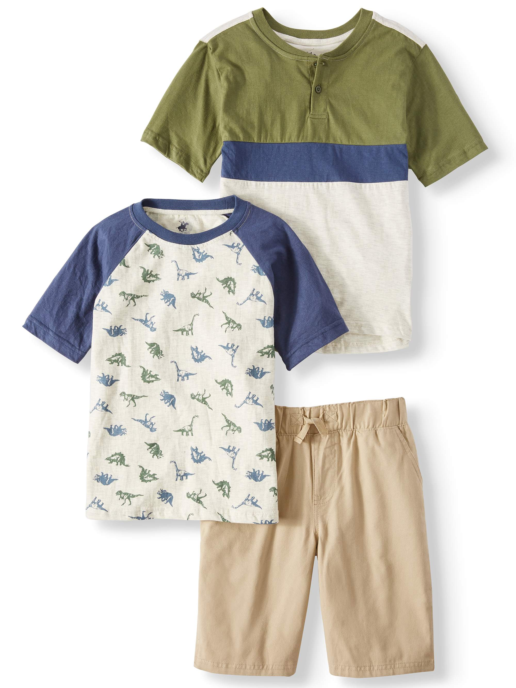 Short Sleeve Dinosaur Tee, Henley Tee, and Pull on Short, 3-Piece Outfit Set (Little Boys & Big Boys)
