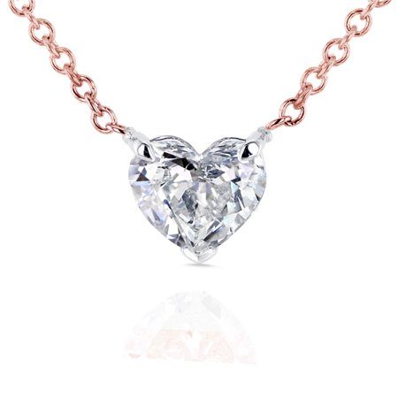 Diamond Floating Heart Necklace (Floating Heart Diamond Necklace 1/2 CTW in 14K Gold)