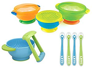 Munchkin 3 Count Stay Put Suction Bowl with 4 Pack Silicone Spoons and Mash & Serve Bowl by Munchkin