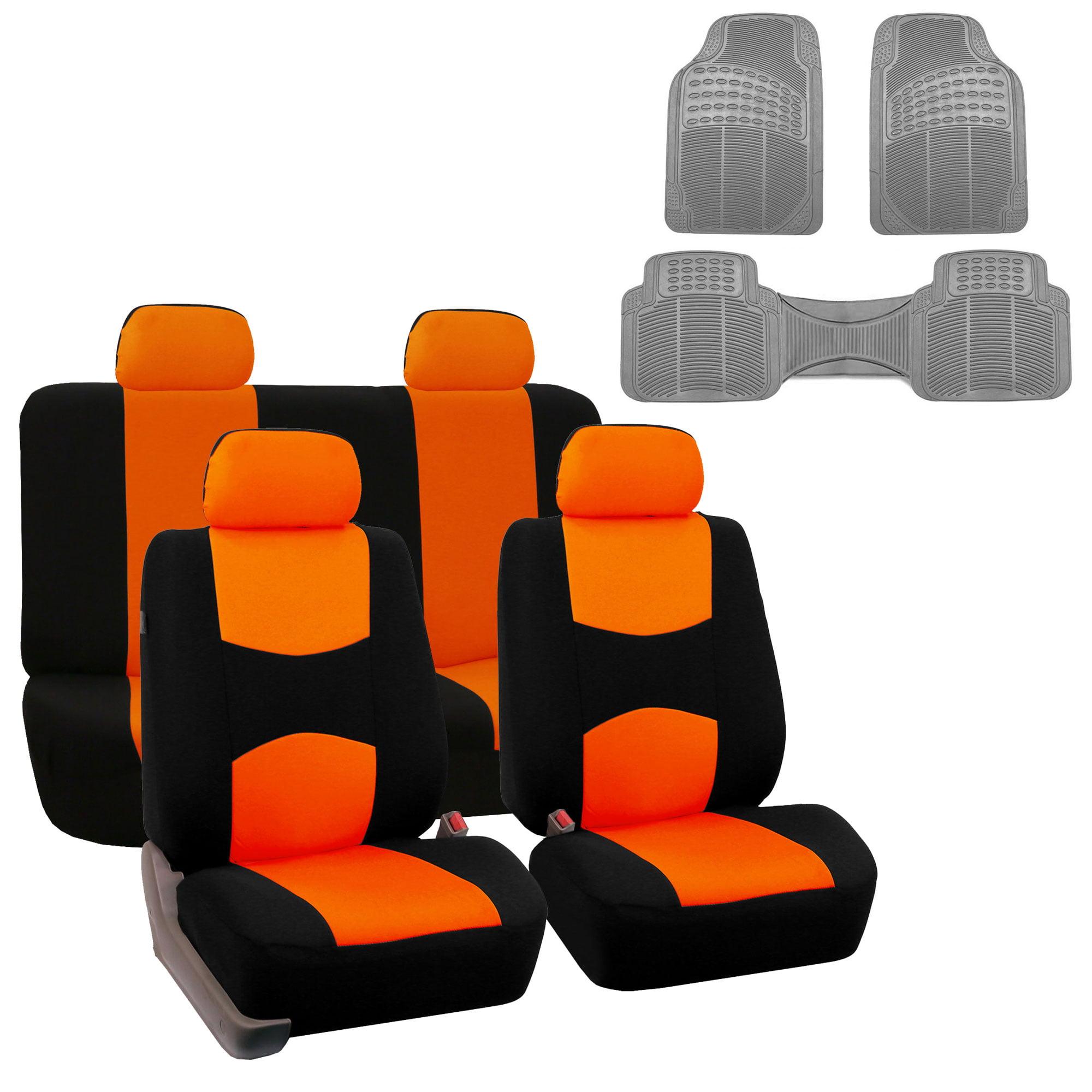 Car Seat Cover Full Set For For Auto Car SUV Truck Van w/ Floor Mat Orange