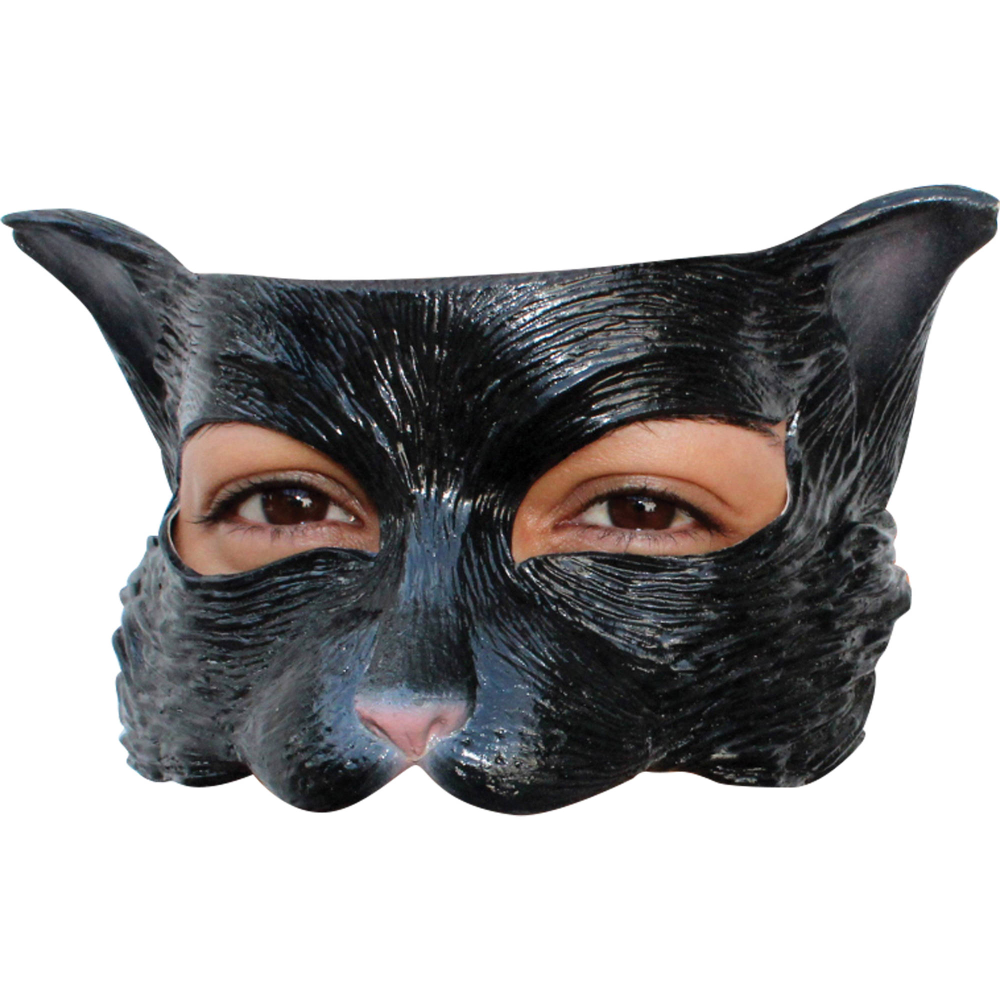 Black Kitty Latex Half Mask Adult Halloween Accessory