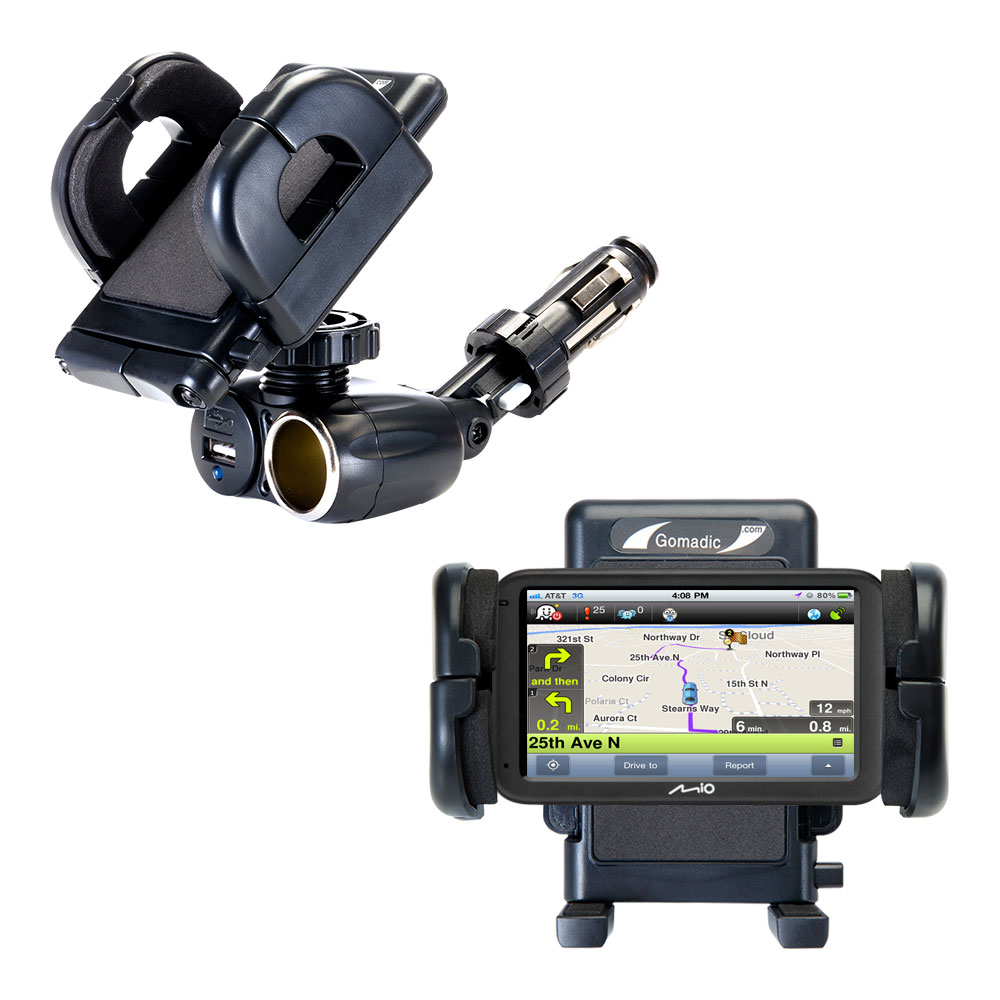 Dual USB / 12V Charger Car Cigarette Lighter Mount and Holder for the Mio Moov M613 / M616