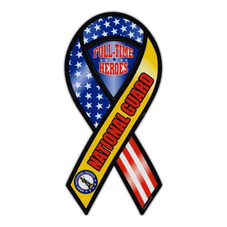 Magnetic Bumper Sticker - Army National Guard - Ribbon Shaped Support, Pride Magnet - 3.75