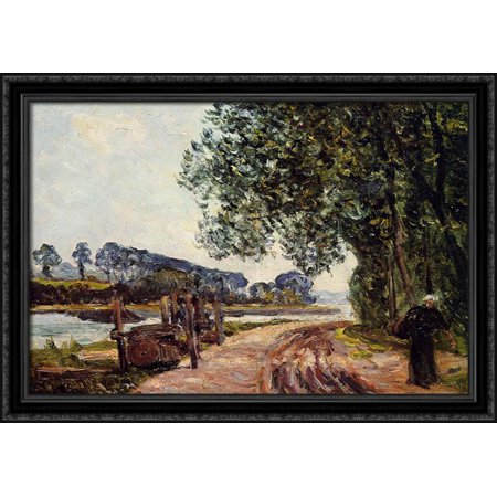 The Banks Of The River Auray 38X28 Large Black Ornate Wood Framed Canvas Art By Maxime Maufra