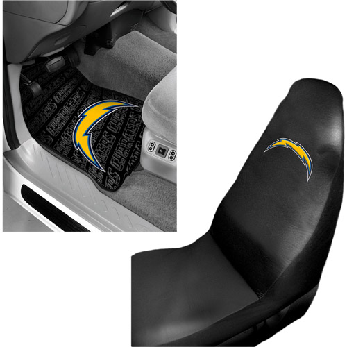 NFL San Diego Chargers 2 pc Front Floor Mats and San Diego Chargers Car Seat Cover