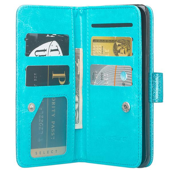 LG Tribute Dynasty (SP200), Fortune 2, Zone 4, Aristo 2 (X210), Rebel 3, Wrist Strap Magnetic Flip Kickstand Leather Case Wallet Cover Clutch - Teal - image 2 of 5
