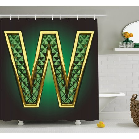 Modern Shower Curtain, Golden Figure with Emerald Tones Alluring Color Letter Super Hero Icon Artsy Graphic, Fabric Bathroom Set with Hooks, 69W X 84L Inches Extra Long, Jade Green, by Ambesonne