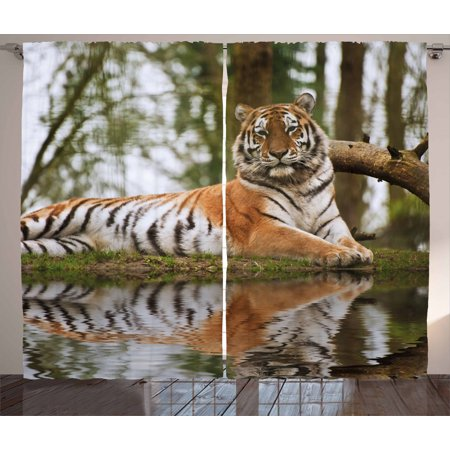 Tiger Curtains 2 Panels Set, Beast of Siberia Resting on a Warm Day on a Lake with its Reflection Altaica Mammal, Window Drapes for Living Room Bedroom, 108W X 84L Inches, Pale Brown, by Ambesonne