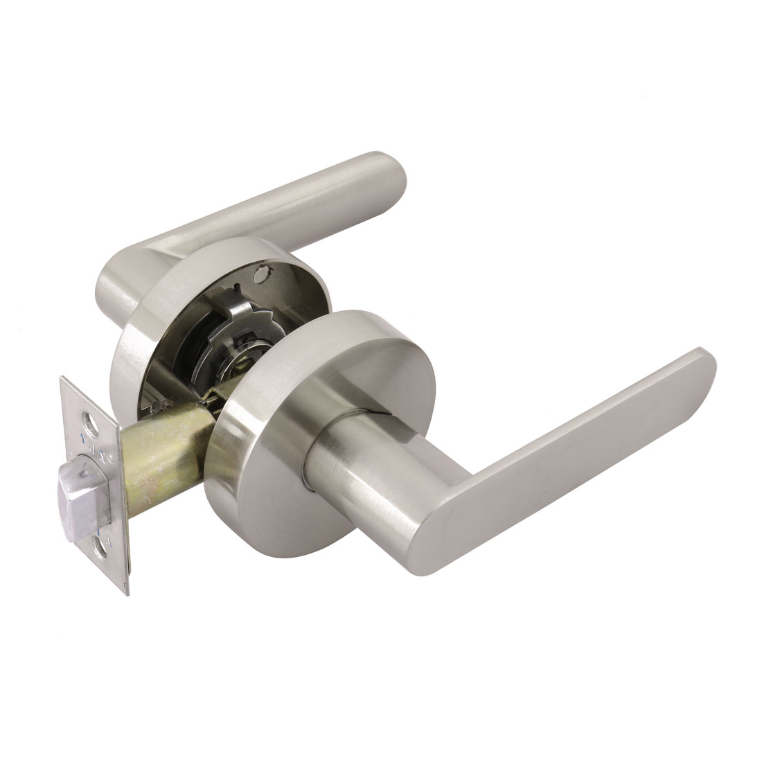 Passage Hallway Door Lock Set Lockset Lever Handle with Round Style Rose - image 7 of 7