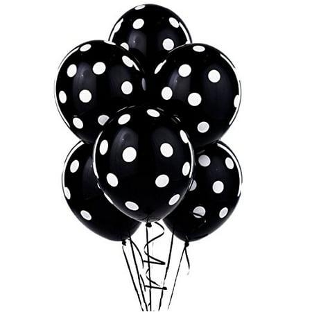 Polka Dot Balloons 11in Premium Black with All-Over print White Pkg/100