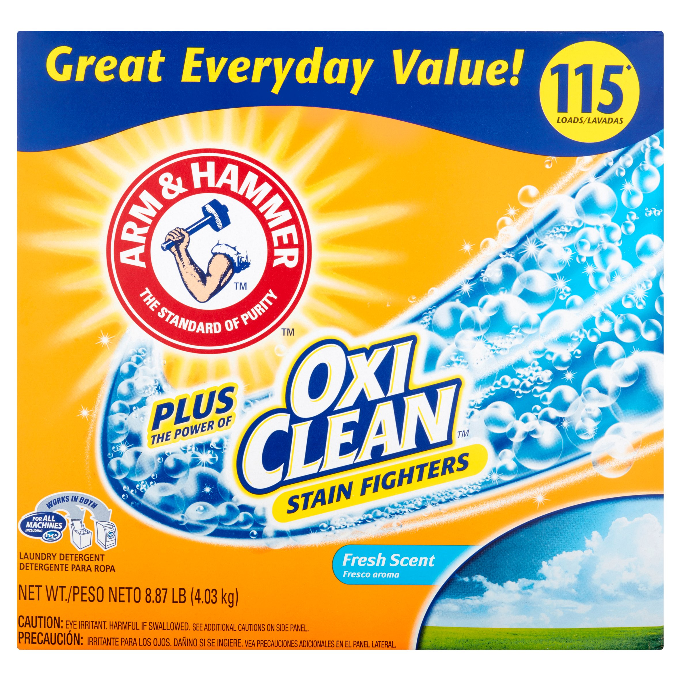 Arm & Hammer Plus OxiClean Stain Fighters Fresh Scent Powder Laundry Detergent, 8.86 lbs