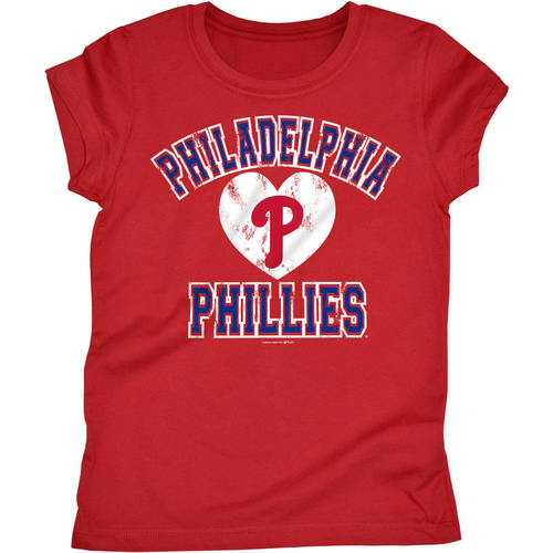 MLB Philadelphia Phillies Girls Short Sleeve Team Color Graphic Tee